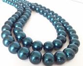 Dark Blue Necklace, Blue Pearl Necklace, Dark Teal Necklace, Faux Pearl Necklace, Chunky Pearl Necklace, Multistrand Pearl Necklace