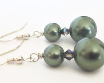 Pearl Dangle Earrings, Dark Green Earrings, Green Earrings, Green Pearl Earrings, Big Pearl Earrings, Olive Green Earrings