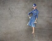 Fabulous Fashion Brooch, Blue Plaid, Fun Wooden Brooch, Tartan, Check,