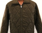 Vintage Quilted Nylon Jacket : Lee Lightweight 70s Big Collar - Men's Large L