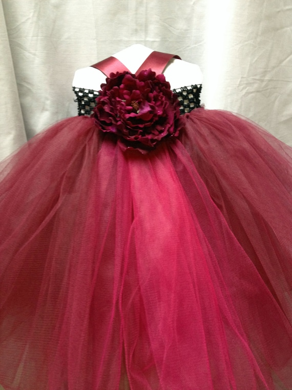 Wine Cranberry Flower Girl Dress Special Occasion Dress