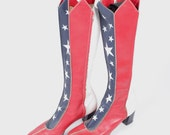 1970's America July 4th Patriotic Superwoman Wonder Woman Boots Sz. 8/9