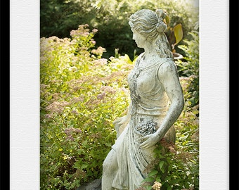 Bathroom decor, Statue PRINT and CANVAS gallery wrap Artwork Picture Lady with basket England botanical garden Fine elegant home wall photo