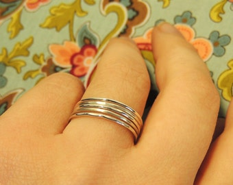 Silver Stacking Rings, Stackable Silver Rings, Silver Ring Set, Silver Midi Rings, Sterling Silver Rings, Silver Pinky Rings, Silver Knuckle