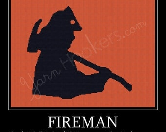 Fireman - Afghan Crochet Graph Pattern Chart - Instant Download