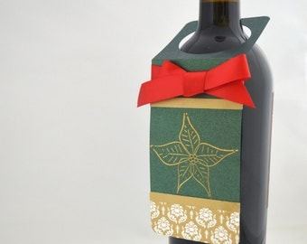 Poinsettia Christmas Wine Bottle Tag in Red and Green