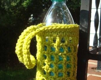 Crochet Bottle Cozy Wristlett - Water Bottle Holder Cozy Carrier - Handmade Crochet