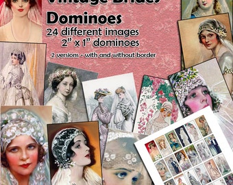 "Vintage Brides Dominoes Digital Collage Sheet  - 2"" x 1"" domino size tags  x 24 - Great for ATCs Brides Collage Sheet Mixed Media"