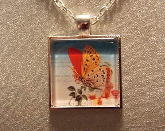 Glass Tile Necklace- Vintage Style Red Butterfly