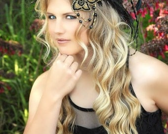 Black & Gold Great Gatsby Feather Fascinator