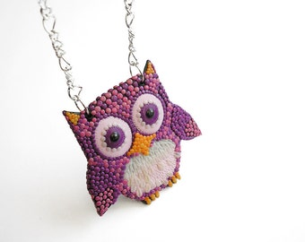 "Owl Necklace / OOAK polymer clay necklace, large owl pendant / ""Who Are You Looking At"" /"