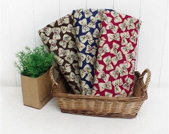 Antique Ribbons Cotton Fabric - Red, Blue or Brown - By the Yard 47106