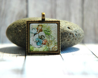 "1"" Square  Glass Pendant Necklace or Key Chain - Beatrix Potter - Mrs Tiggy Winkle"