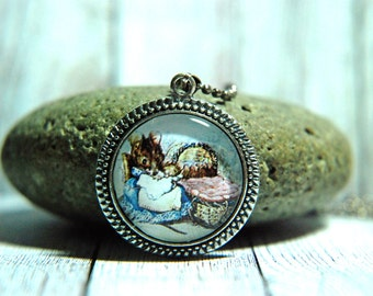"""1"""" Round Glass Pendant Necklace or Key Chain - Beatrix Potter - Hunca Munca - Two Bad Mice"""