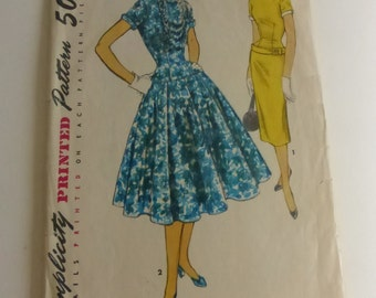 Vintage Simplicity 4993 Misses 1950s Drop Waist Dress Size 12