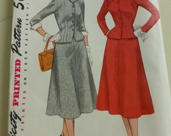 Vintage Simplicity Pattern 4183 Misses Two Piece Suit with Detachable Collar and Cuffs Size 14