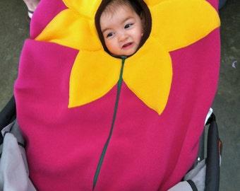 Sunflower on bright Fuschia Baby Car Seat Cover, Infant Car Seat Cover,  Baby CarSeat Cover