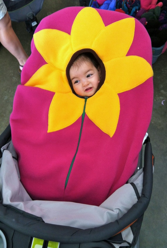 sunflower on bright fuschia baby car seat cover infant car. Black Bedroom Furniture Sets. Home Design Ideas