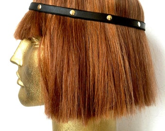 Medieval Leather Rivet Headband // OSFM