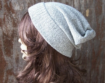 Light grey slouch beanie recycled sweater eco accessories slouchy hat handmade unisex lightweight ski hat upcycled