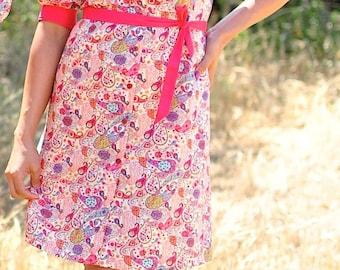 Shirt Dress, Pink Dress, Liberty Prints Dress, Dresses with Sleeves, Colorblock Dress, Floral Dress, Paisley Dress, Cotton Dresses, BESPOKE