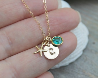 Child necklace, little girl necklace, Personalized 14k gold filled custom stamped initial disc, Swarovski Birthstone, tiny starfish,monogram