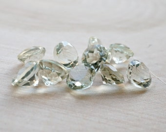 6mm Green Amethyst faceted gemstones 2 pieces