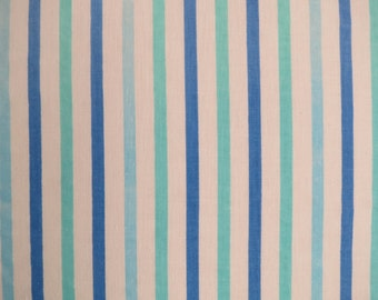 Vintage Sheet Fabric Fat Quarter - Shades of Blue Stripes