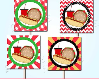 BBQ Cupcake Toppers BBQ Favor Tags Printable Set of 20 Instant Download BBQ Wrappers