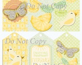 Digital Download Gift Tags Lemons and Birds Set of 6 Large Printable Scrapbook