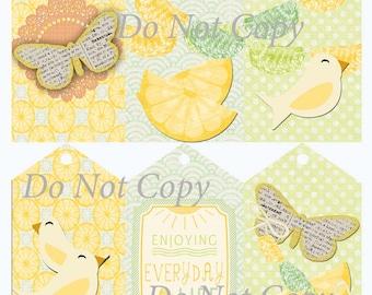 Digital Download Gift Tags Lemons and Birds Set of 6 Large Printable Scrapbook