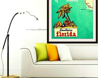 map art print Naples Map vintage Florida beach house Gulf of Mexico mid century modern mcm art aqua red yellow retro wall decor