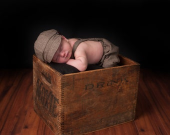 Newborn Outfit Photography Prop brown newsboy set -  baby boy pictures - hat suspenders pants - vintage outfit