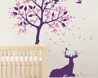 """Baby Nursery Wall Decals - Tree Decals - Tree Wall Decal - Wall Mural Sticker - Tree Wall Decal with Deer - Large: 78"""" x 49"""" - KC056"""