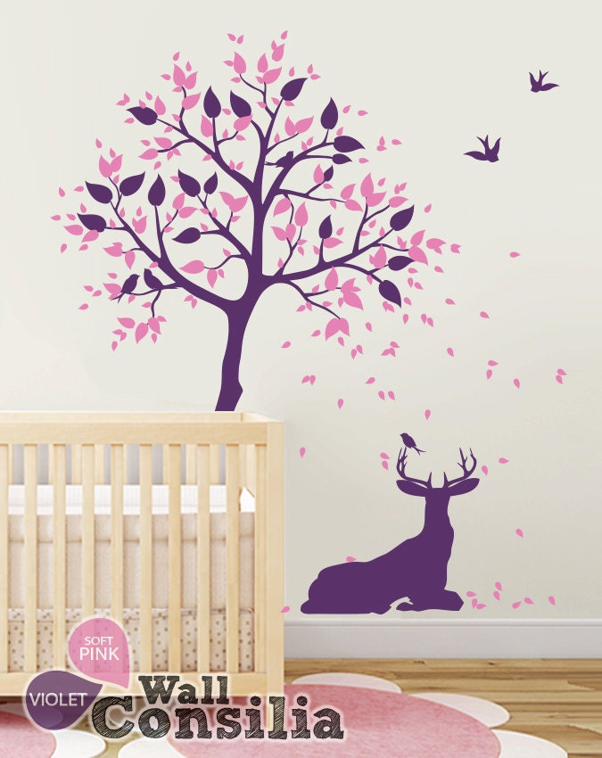 Baby nursery wall decals tree decals tree wall decal for Baby nursery tree mural