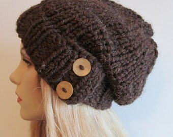 PDF Knitting Pattern Instant Download Chunky Hipster Slouchy Beanie Hat with Buttons Womens Girls
