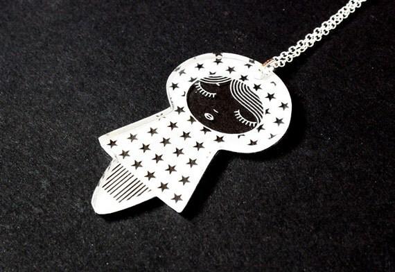 Doll pendant with stars pattern - graphic matriochka necklace - cute kokeshi jewelry - lasercut clear acrylic - kawaii jewellery