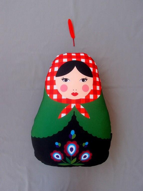 Stuffed Matrioshka, Big Matryoshka Pillow, Red Green Babushka Pillow, Kids room decoration, Matryoshka Doll,  Folk Matryoshka