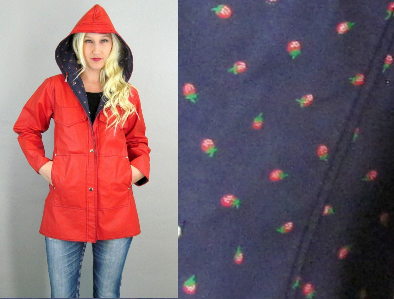 Vintage Red Raincoat Strawberry 80 S Rain Coat 80 S