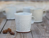 ceramic cup , White textured Tea Cups , Modern Coffee Mug in White , hand built ceramic cup , Geometric Leaf Pattern,  valentine's day gift