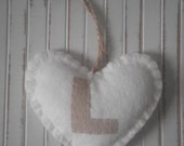 SALE ~ Personalised Handmade Heart ~ Initial L - Twine Hanging