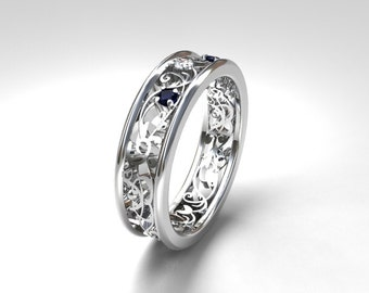 Blue sapphire ring, white gold, wedding band, white sapphire ring,  sapphire wedding, filigree ring, blue wedding, engagement ring, lace