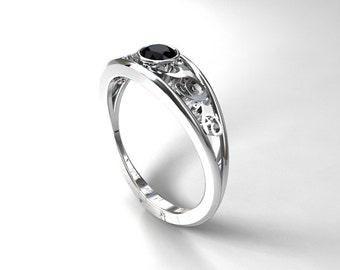 Black diamond ring, engagement ring, white gold, filigree engagement, black wedding, bezel engagement,  gothic, black diamond engagement