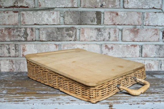 Vintage wood wicker lap desk artist drawing board writing - Wood lap desk with storage ...