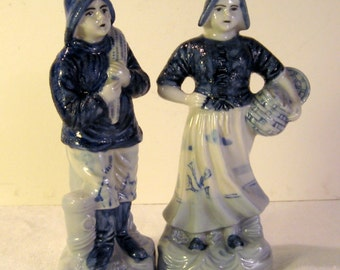 Delft Inspired Porcelain Fisherman and Wife Figurines - Made in Japan