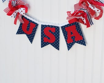 USA Banner. 4th of July banner. Red, white, blue banner. Patriotic banner. Patriotic decoration. America banner Party banner. Pennant banner