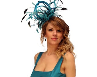 Turquoise and Black Satin  Feather Fascinator Hat - wedding, ladies day - choose any colour feathers & satin