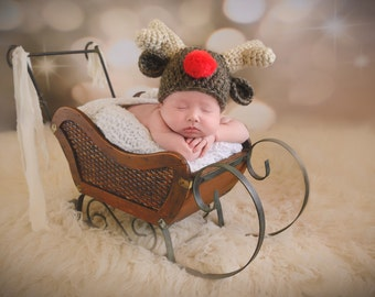 Rudolph Baby Hat Red Nose Reindeer Baby Hat Newborn Photo Prop Christmas Baby Hat Deer Newborn Baby Girl Hat Newborn Baby Boy Antlers Brown