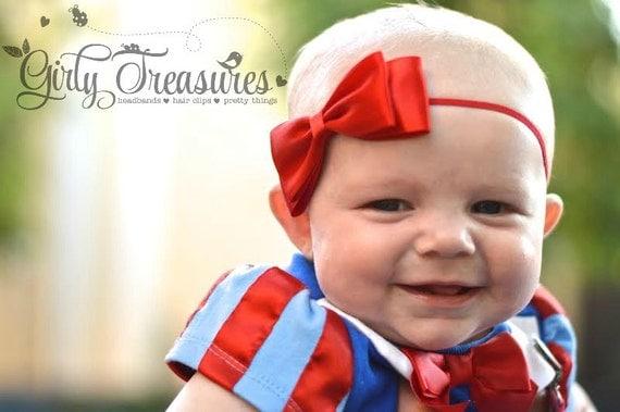 Snow White Bow Headband. Red Bow Headband. Satin Bow Headband. Baby Headband. Newborn Headband. Girl Headband. Photo Prop.
