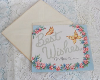 1950's Vintage Best Wishes Greeting Card Unsigned with Envelope Flocked Lettering Butterflies and Flowers